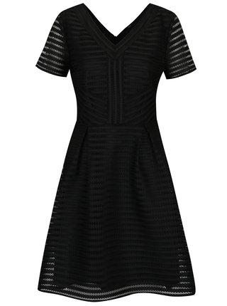 Černé pruhované perforované šaty s véčkovým výstřihem ONLY Puff