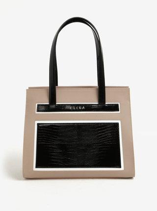 Geanta bej&negru din piele cu model ELEGA Isabel
