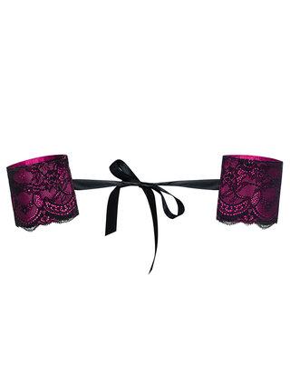Tmavo ružové čipkvané putá Obsessive Roseberry pouta