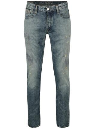 Modré pánské straight džíny s potrhaným efektem Calvin Klein Jeans Taper