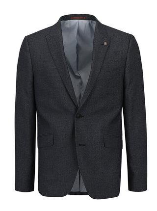 Šedomodré oblekové skinny sako s jemným vzorem Burton Menswear London