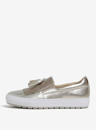 Pantofi slip on aurii cu franjuri Geox Breeda