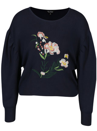 Tmavě modrý svetr s výšivkou Miss Selfridge
