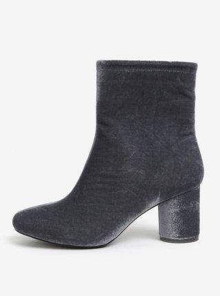 Sivé zamatové členkové topánky MISSGUIDED
