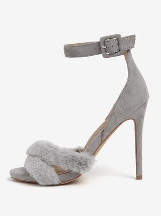 Sivé sandáliky s umelou kožušinou MISSGUIDED