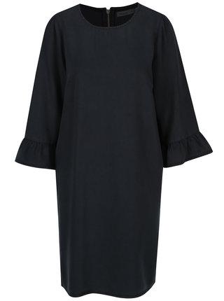 Tmavomodré rifľové šaty s volánmi na rukávoch VERO MODA Lissy