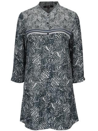 Krémovo-modrá vzorovaná dlhá košeľa Yest