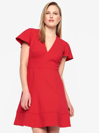 Rochie scurta rosie cu decolteu in V - French Connection Whisper