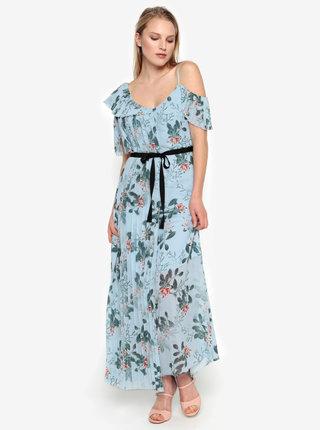 Rochie maxi cold shoulder bleu cu print floral si pliseuri -  French Connection Kioa