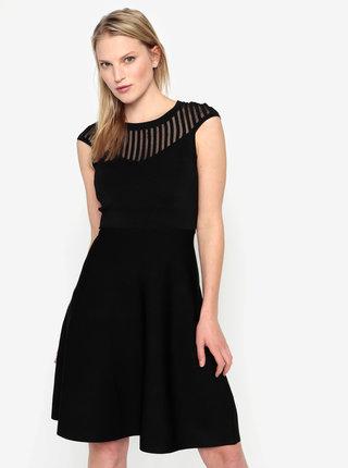 Čierne šaty s prehľadným dekoltom French Connection Rosecrepeknts