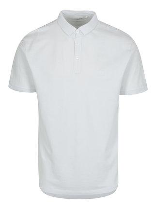 Tricou polo alb din bumbac cu logo brodat - Lindbergh