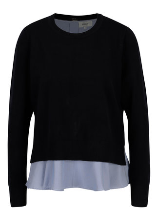 Tmavě modrý svetr s košilovou částí ONLY Latisha