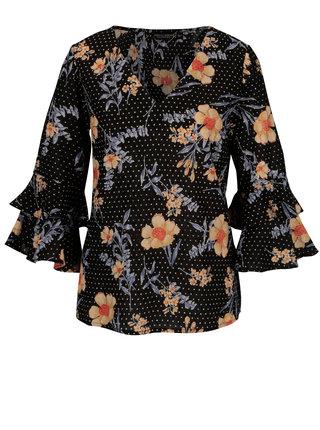 Bluza neagra cu print floral si volane - Dorothy Perkins