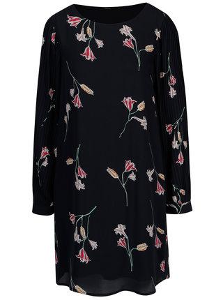 Rochie bleumarin cu maneci plisate si print floral VERO MODA Elena