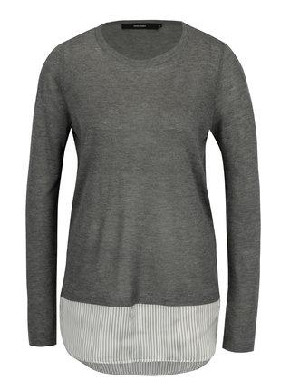 Sivý tenký sveter so všitou košeľovou časťou VERO MODA Ania