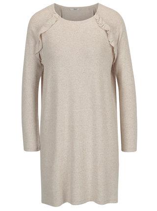 Béžové svetrové šaty s volánmi ONLY New Maye