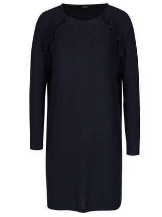 Rochie pulover bleumarin cu maneci raglan si volane - ONLY New Maye