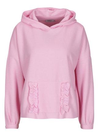 Hanorac roz cu gluga si buzunar kangaroo - ONLY Gia