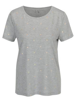 Sivé melírované vzorované tričko ONLY Isabella
