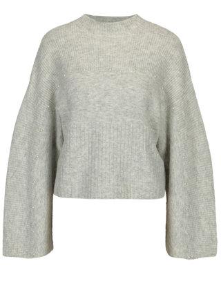 Svetlosivý melírovaný sveter s korálkami v tvare perličiek Miss Selfridge