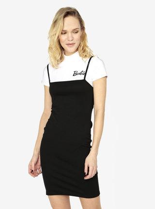 Černé šaty s žebrovaným crop topem 2v1 MISSGUIDED Barbie
