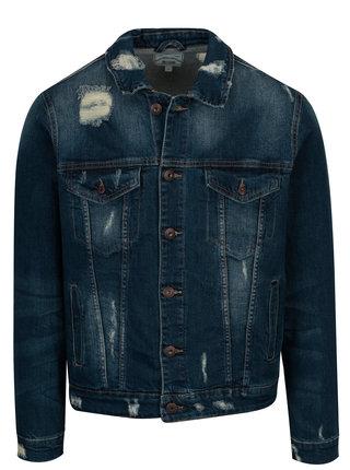 Jacheta albastra din denim cu efect de uzura - ONLY & SONS Denim