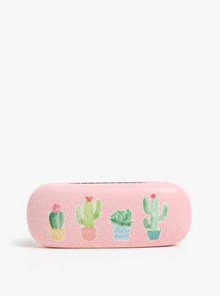 Světle růžové pouzdro na brýle s motivem kaktusů Sass & Belle