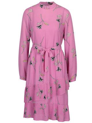 Ružové kvetované šaty s odopínacou vnútornou časťou 2v1 VERO MODA Elena