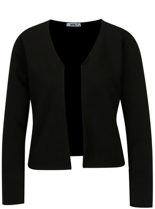 Cardigan cropped negru cu dungi in relief - Haily´s Luxy