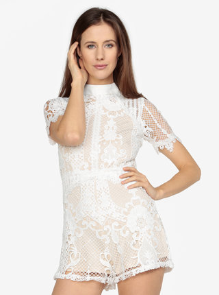 Béžovo-bílý krajkový overal MISSGUIDED