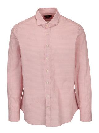 Bielo-červená vzorovaná slim fit košeľa Hackett London