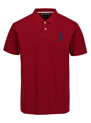 Tricou polo rosu cu broderie - Hackett London New Classic
