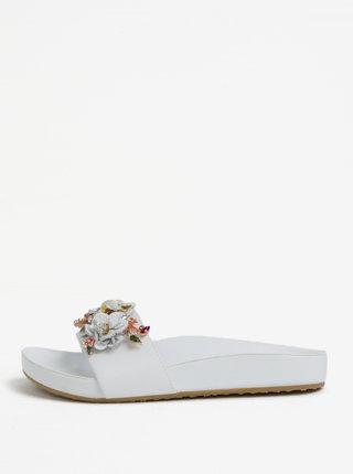 Papuci albi din piele cu aplicatie florala pentru femei Dune London Laelia