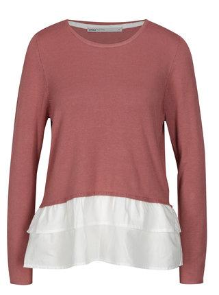 Staroružový tenký sveter so všitou košeľovou časťou ONLY Gingham