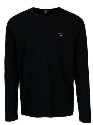 Černé pánské regular tričko s dlouhým rukávem GANT