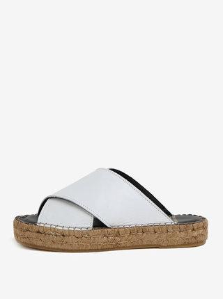 Papuci albi din piele cu platforma pentru femei - Royal RepubliQ