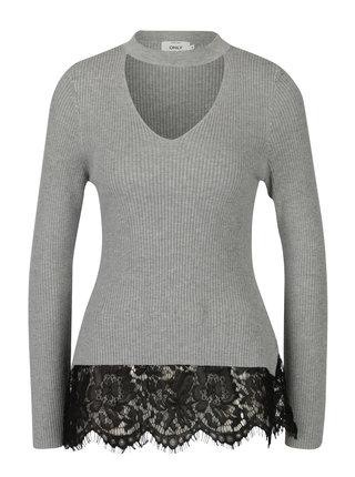 Svetlosivý sveter s chokerom a čipkovaným lemom ONLY Kamie