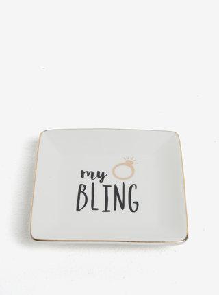Krémový talířek na odkládání šperků s potiskem CGB My Bling