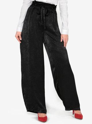 Pantaloni lejeri negri din satin cu talie inalta si cordon - MISSGUIDED