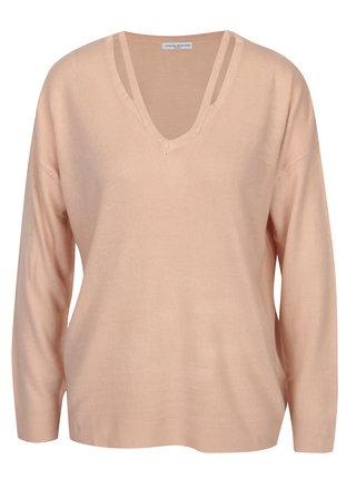 Svetloružový sveter s prestrihmi Jacqueline de Yong More