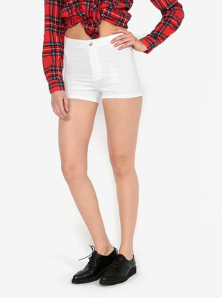 Pantaloni scurti albi din denim cu talie inalta -  Miss Selfridge