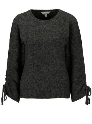 Tmavě šedý žíhaný svetr s řasením na rukávech Dorothy Perkins Petite