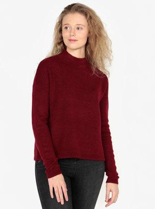 Vínový dámsky sveter so stojačikom QS by s.Oliver