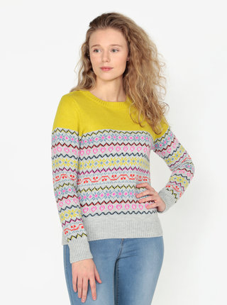 Pulover galben&gri cu model geometric Oasis Fairisle