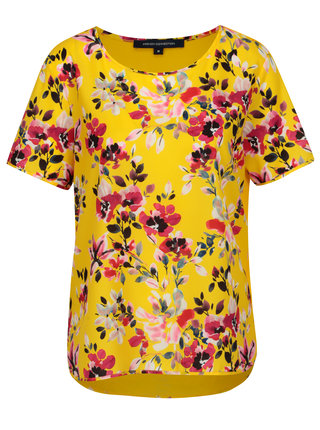 Bluza asimetrica galbena cu print floral French Connection Linosa
