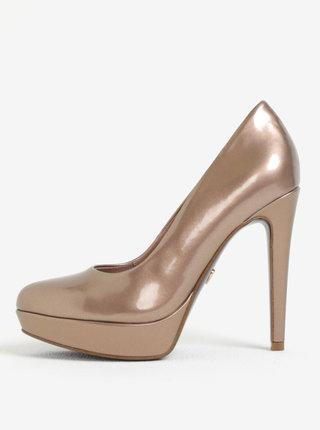 Pantofi cu toc si platforma bronz Tamaris