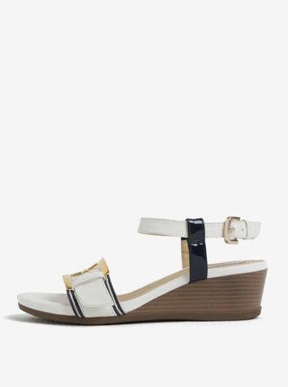 Sandale alb cu bleumarin cu talpa wedge Gaeox Mary Karmen