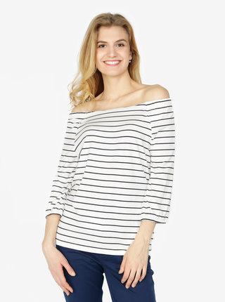 Bílé dámské pruhované tričko s odhalenými rameny s.Oliver