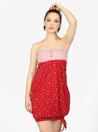 Červené balónové šaty s potlačou a vreckami Ragwear Scene