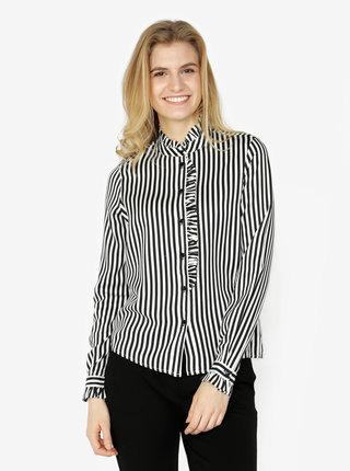 Bluza alb & negru cu terminatii plisate si model in dungi - VERO MODA Lizette